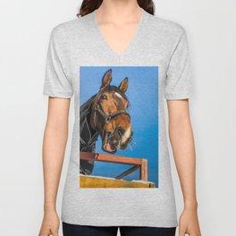 Surprised horse Unisex V-Neck