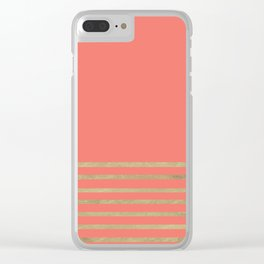 Peach and Gold Stripes Clear iPhone Case