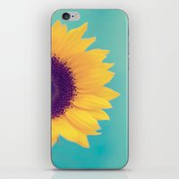sunflower iPhone & iPod Skins featuring Sunflower by Debbie Wibowo
