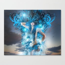 Summer concept, representation of spring, naked woman with bird feathers Canvas Print