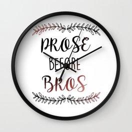 """Prose before Bros"" Print Wall Clock"