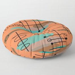 Atomic Era Inspired Dark Orange Floor Pillow