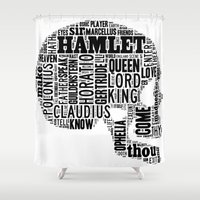 hamlet Shower Curtains featuring Shakespeare's Hamlet Skull by MollyW