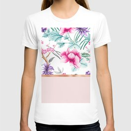 Chinoiserie pearl white floral & rose gold T-shirt