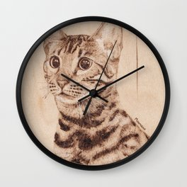 Bengal Cat Portrait - Drawing by Burning on Wood - Pyrography art Wall Clock