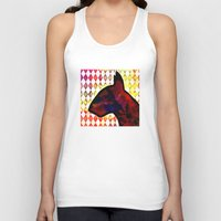bull terrier Tank Tops featuring Bull Terrier Jester by Erin Conover