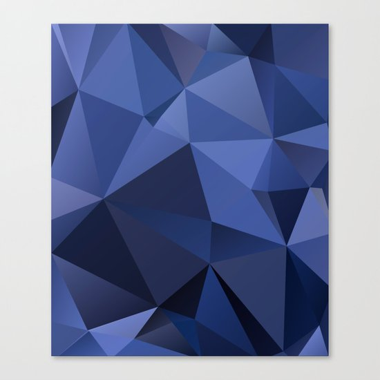 Abstract of triangles polygon in navy blue colors Canvas Print
