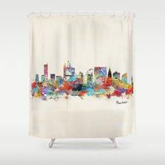 Manchester England skyline Shower Curtain