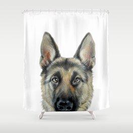 German Shepard Original painting by Miart Print Shower Curtain