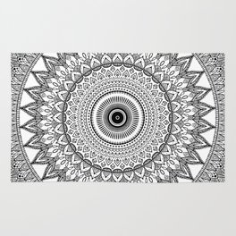 black and white mandala Rug