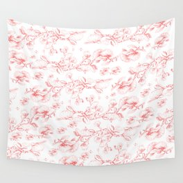 Red pohutukawa pattern Wall Tapestry