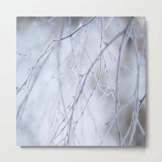 Frozen Twigs in Beautiful Winter Day Metal Print