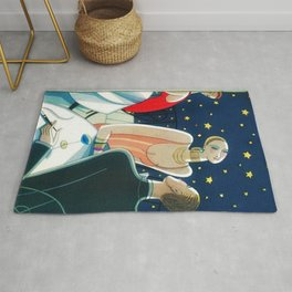The Woman in Red & Stars, Art Deco - Haute Couture NYC Portrait Painting Rug