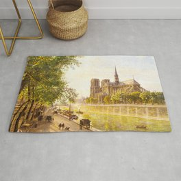 L'lle de la Cite and the Cathedral of Notre Dame, Paris from Quai Montebello by Firmin-Girard Rug