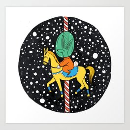 Horse carousel in space Art Print