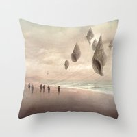 giants Throw Pillows featuring Floating Giants by Christian Schloe