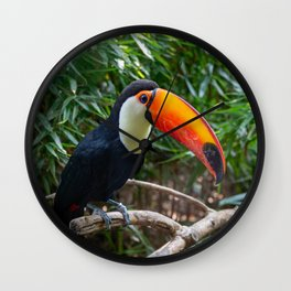 A toucan laid on a tree branch in the forest Wall Clock