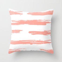 Pretty Pink Brush Stripes Horizontal Throw Pillow