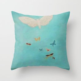 Butterfly Migration Over the Sea nautical landscape painting by Migishi Kotaro Throw Pillow