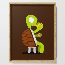 Turtle drinking tea with cookies. Serving Tray
