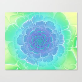 Romantic blue and green flower, digital abstracts Canvas Print