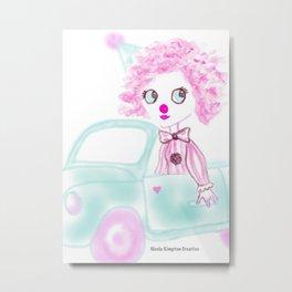Cute candy pink clown Metal Print