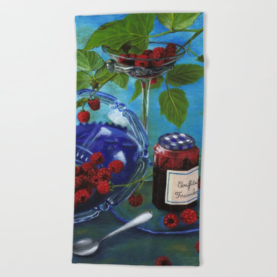Still-life with raspberries Beach Towel