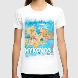 Mykonos Greece Illustrated Map with Main Roads Landmarks and Highlights T-shirt