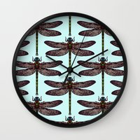 dragonfly Wall Clocks featuring dragonfly by Sharon Turner