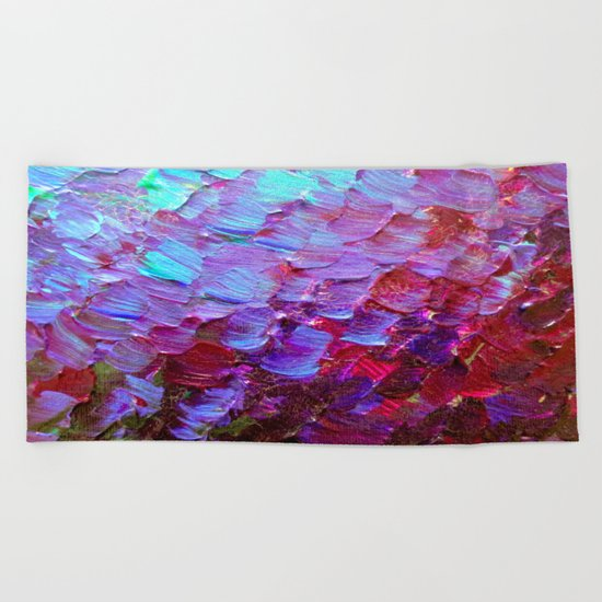 MERMAID SCALES - Colorful Ombre Abstract Acrylic Impasto Painting Violet Purple Plum Ocean Waves Art Beach Towel