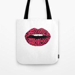 Pink Cheetah Pattern Lips Leopard Fur Mouth Animal Print Tote Bag