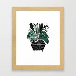 Grow - linocut art print, house plants art print, monstera, leaves, tropical, Framed Art Print