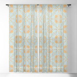 Ice Oranges Or Maybe Peaches Seamless Pattern Sheer Curtain