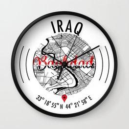 Baghdad, IRAQ Road Map Art - Earth Tones Wall Clock