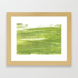 Moss green abstract watercolor Framed Art Print