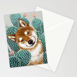 Shiba Inu and Cactus Stationery Cards