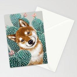 Shiba Inu and Cactus Stationery Cards