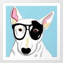 Hipster Bull Terrier Art Print