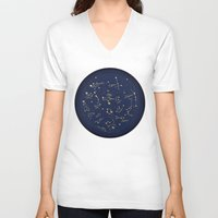 constellations V-neck T-shirts featuring Constellations by Cina Catteau