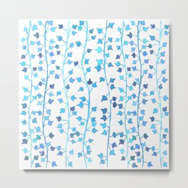 Watercolor Vines Pattern - Cerulean Blue Metal Print