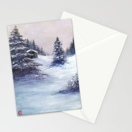 Serene Snow Stationery Cards