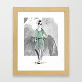 Woman in Green Coat Framed Art Print