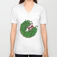 "teeth V-neck T-shirts featuring ""Teeth"" by Daniel Gestri"