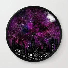 Starry Skyline Neck Gator Purple Moon Skyline Wall Clock