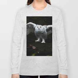 Snowy Owl With Open Wings Long Sleeve T-shirt