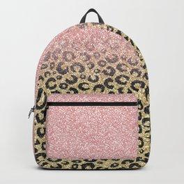 Elegant Rose Gold Glitter Black Leopard Print Backpack