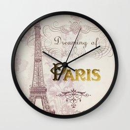 Paris Eiffel Tower French Script Blush Pink Montage Wall Clock