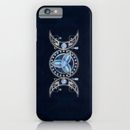 Triple Moon Triquetra Ornament with Moonstone iPhone Case