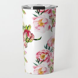 Watercolor pattern with peony flowers Travel Mug