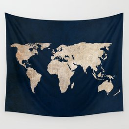 Inverted Rustic World Map Wall Tapestry